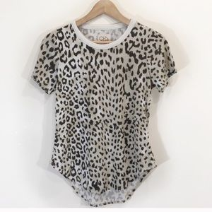 Chaser Leopard Cheetah Print T-Shirt Small Brown